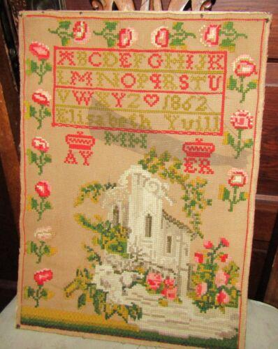1862 Dated Cross Stitch Sampler Alphabet Signed Elizabeth Yuill