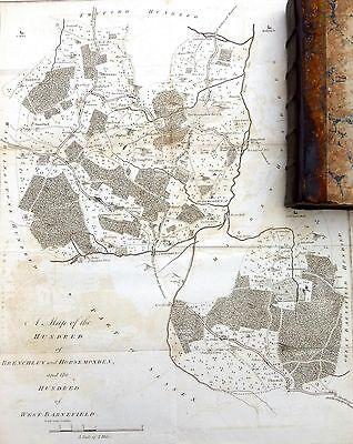 KENT, 1797 - ORIGINAL ANTIQUE MAP of BRENCHLEY & HORSEMONDEN HUNDRED - HASTED.