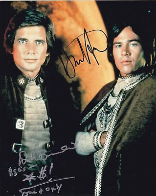 Richard Hatch Dirk Benedict Battle Star Galactica Autographed 8X10 Photo Rp