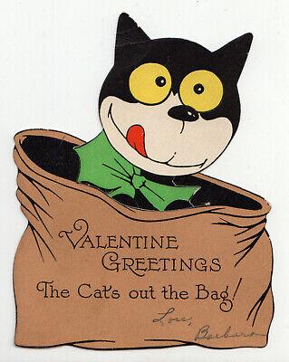 1920s Style Purses, Flapper Bags, Handbags Valentine Card Vintage 1920s Cat Pops Out of Bag $9.95 AT vintagedancer.com