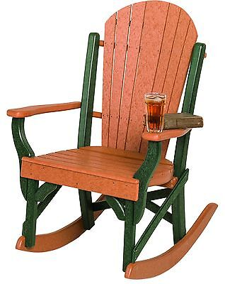 Poly Lumber Fanback Porch Rocker Chair - 18 COLOR OPTIONS - Amish Made