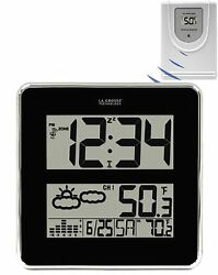 512B-811 La Crosse Technology Large Digit Atomic Clock IN/OUT Temperature W186-D