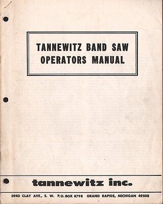 Tannewitz Bandsaw Operators Manual Pdf