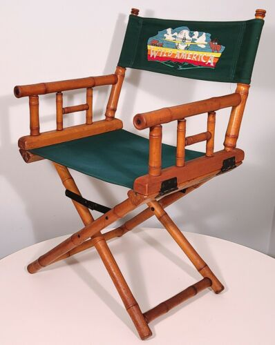 TELESCOPE VINTAGE DIRECTORS CHAIR FAUX BAMBOO FILM SET USED w REPLACEMENT CANVAS