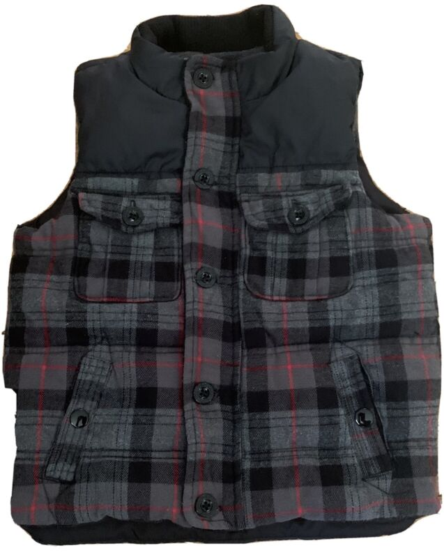 Baby Gap Toddler Boy's Black Plaid Sleeveless Puffer Vest Size 4