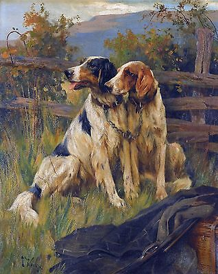 "Arthur Wardle, GUN DOGS, Bird, Hunting, antique wall decor, 20""x16"" ART CANVAS"