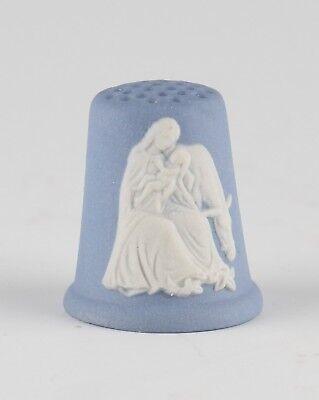 vintage Wedgwood blue Jasperware Christmas Virgin, Child & Donkey 1990 thimble