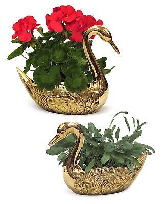 Brass Swan Planter Pots Set of 2 Garden Planters Decor Flower Lawn Plants (Swan Pot)
