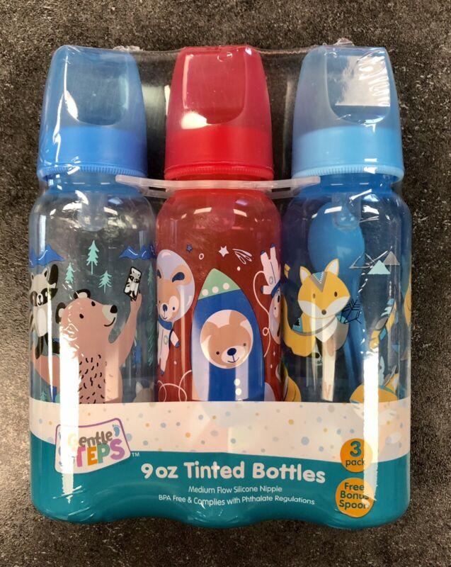 Baby Boy 3 Pack 9oz Tinted BPA Free Bottles + Free Bonus Spoon  NEW In Package