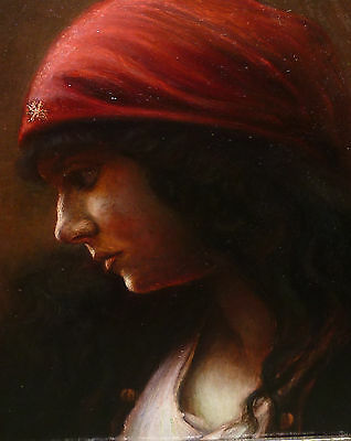 Portr�t Orientalin Zigeunerin museale Qualit�t Gem�lde Nathaniel Sichel Umkreis