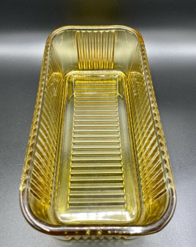 "VTG Federal AMBER Yellow Glass RIBBED REFRIGERATOR Dish 8"" x 4"" Container Only"