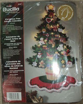BUCILLA FELT JEWELED LIGHTED CHRISTMAS TABLETOP TREE ADVENT CALENDAR KIT -