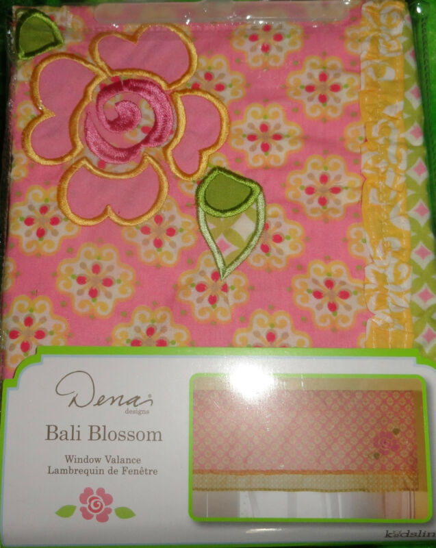 "KIDSLINE DENA ""BALI BLOSSOM"" EMBROIDERED FLOWER BABY NURSERY WINDOW VALANCE NEW"