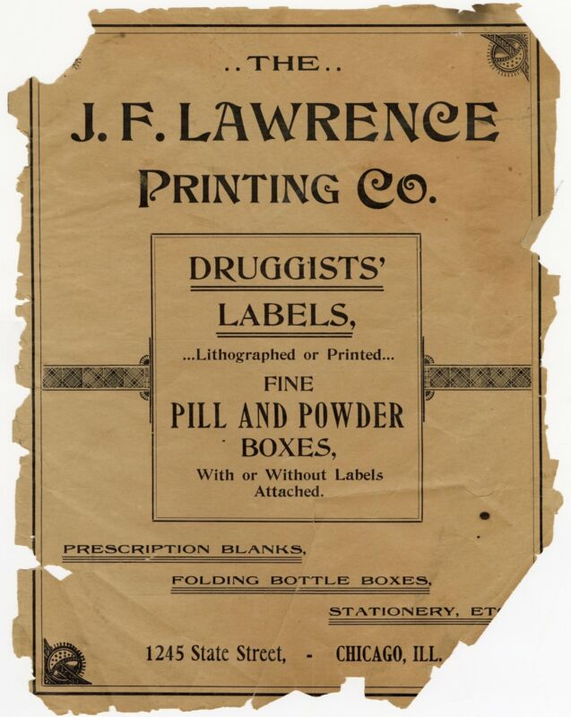 1899 J.F. Lawrence Druggists