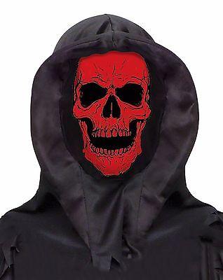 SKULL HOOD Halloween Costume Hooded Mask - Brand New - Red Skull Halloween Mask