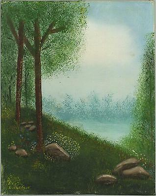 VINTAGE WILD FLOWERS GARDEN SPRING ETHEREAL MIST NATURE TREES ROCKS ART PAINTING