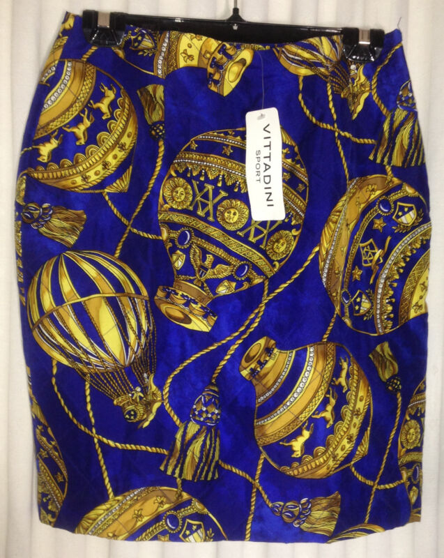 NWT $195 VITTADINI 100% Silk Quilted Skirt Hot Air Balloons 10 Above Knee