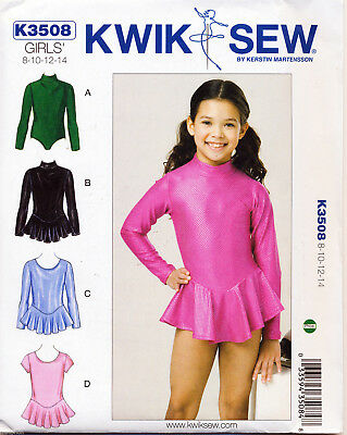 (KWIK SEW SEWING PATTERN 3508 GIRLS SZ 8-14 GYM, DANCE, SKATING, SKIRTED LEOTARDS)