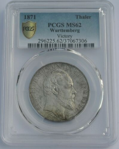 1871 Germany Wurttemberg Silver Thaler PCGS Certified MS62