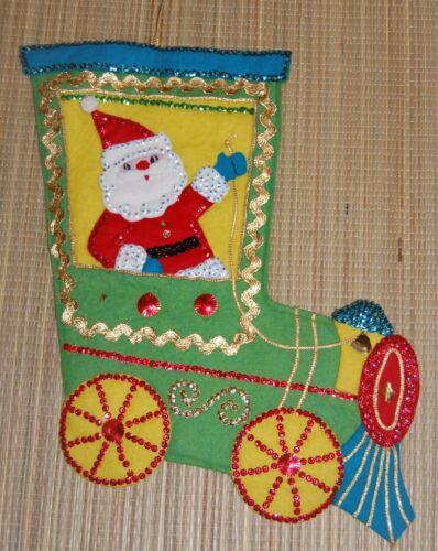 Vintage Completed Felt Stocking Santa Train Sequins Embellished 1940s 1950s #39