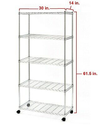 5 Shelf Steel Wire Shelving Storage Rack Heavy Duty Wheels Zinc Plated 30 X 14