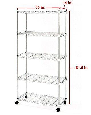 5 Shelf Steel Wire Shelving Storage Rack Heavy Duty Wheels Zinc Plated 30 X 14
