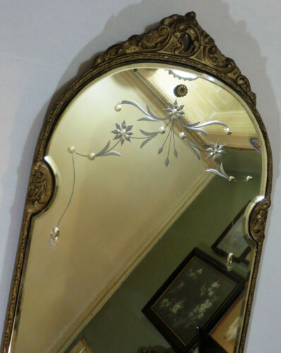Antique Art Deco Etched Mirror w/ Beveled Edge