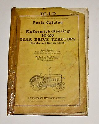 Ih International Mccormick-deering 10-20 Parts Catalog