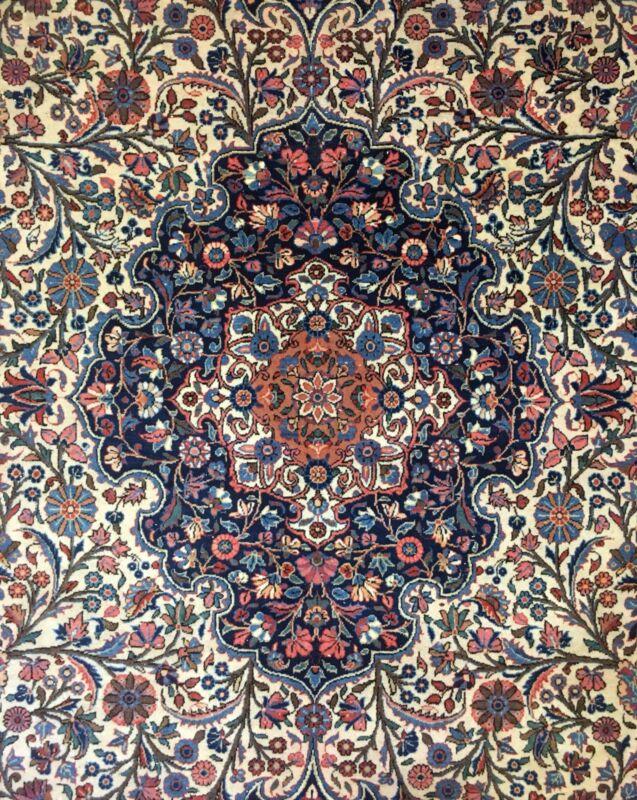 Dashing Dabir - 1920s Antique Oriental Rug - Floral Carpet - 8.5 X 11 Ft