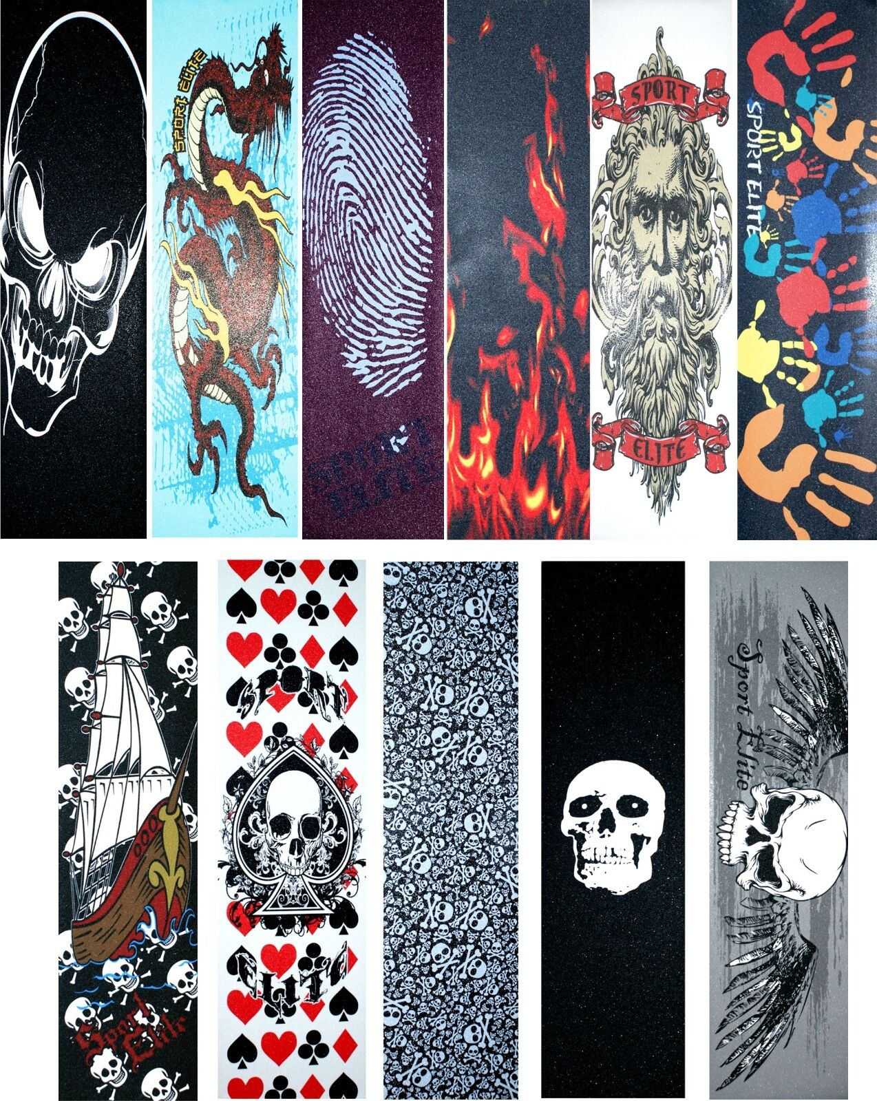 """Skateboard Graphics Grip tape 9"""" x 33"""" Multiple Designs to C"""