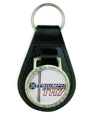 Triumph TR7 Jaws Rectangle Black Leather Keyring