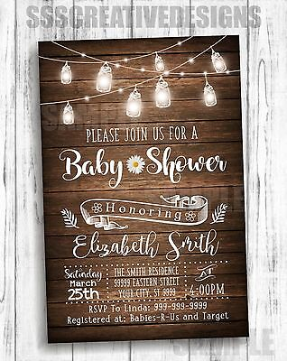 Baby Shower Invitation Card Girl Vintage Rustic Lights Summer Elegant  Set of 10 - Rustic Baby Shower Invitations