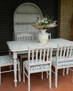 SHABBY CHIC WELSH DRESSER/6 PIECE SOLID WOOD DINING SUITE Dakabin Pine Rivers Area Preview