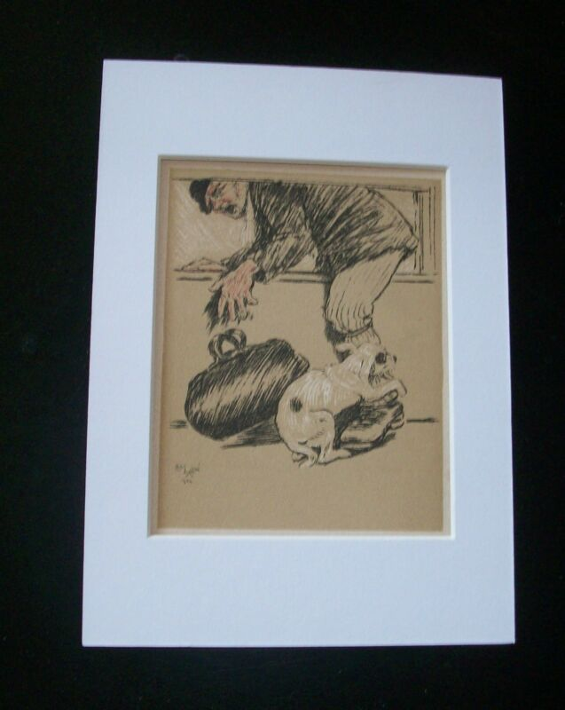Dog Cecil Aldin Bookplate Print 1902 Puppy Biting Thief Matted Terrier? Mutt