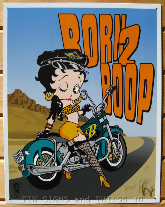 Betty Born 2 Boop motorcycle pinup TIN SIGN retro metal wall decor poster 1035