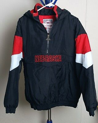GENUINE STUFF COLLEGIATE NEBRASKA HUSKERS HOODED PULLOVER JACKET MENS  L  GREAT