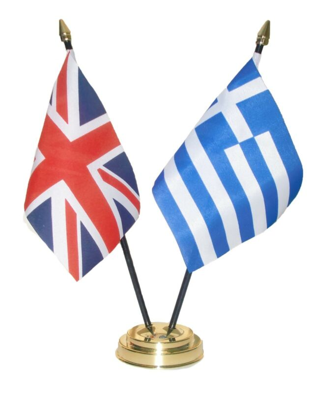 UK & AND GREECE Friendship TABLE FLAGS with GOLDEN BASE GREEK british flag