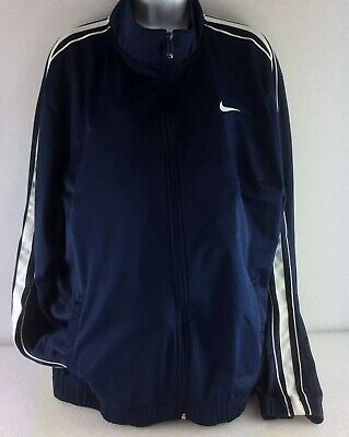 Nike Size XL Swoosh Navy Blue White Running Jogging Track Warm Up Jacket