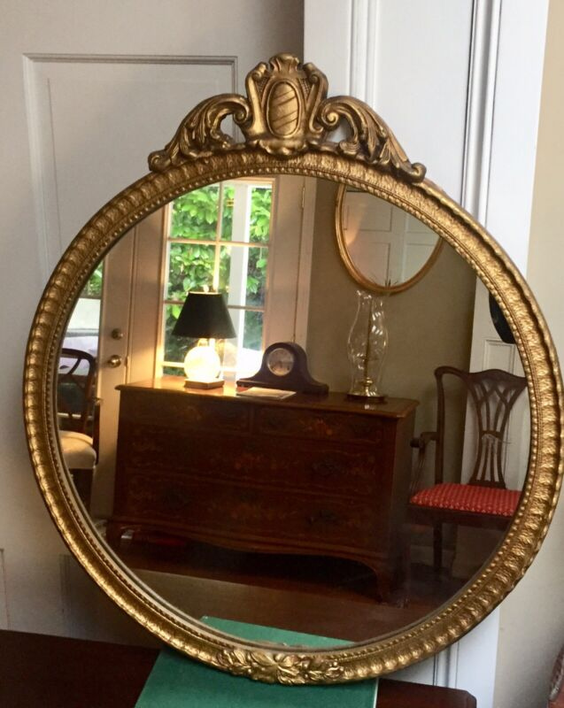 Vintage French  Gold  Round Wall Mirror
