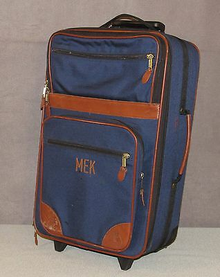 LL BEAN Sportsman's Canvas / Leather Trim Rolling Carry On Suitcase Luggage Blue
