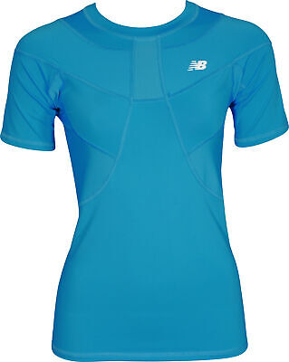 New Balance Compression Womens Short Sleeve Top - Blue - New Balance Compression Short