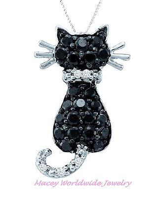 10K White Gold Twilight Black  Diamond Frisky Cat Necklace Pendant .36Ct ()