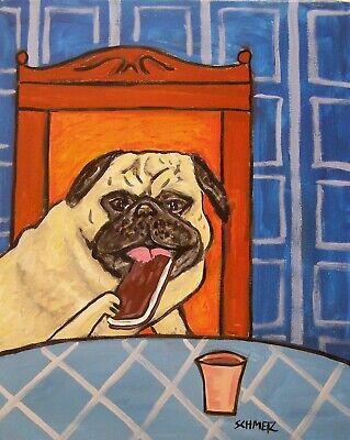 PUG ice cream sandwich  dog art print 4x6 artwork modern Dog Ice Cream Sandwiches