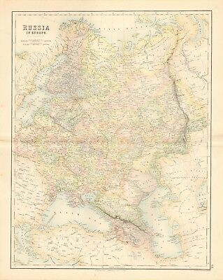 1874 ca LARGE ANTIQUE MAP- SWANSTON - RUSSIA IN EUROPE