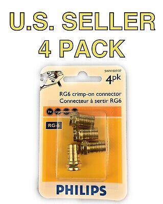 🌟(4 Pack) Philips Gold RG6 Crimp-On Coaxial F Connectors, Internet, TV, Cable
