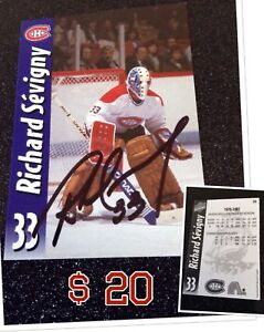 Carte de hockey Molson Export signé de Richard Sévigny