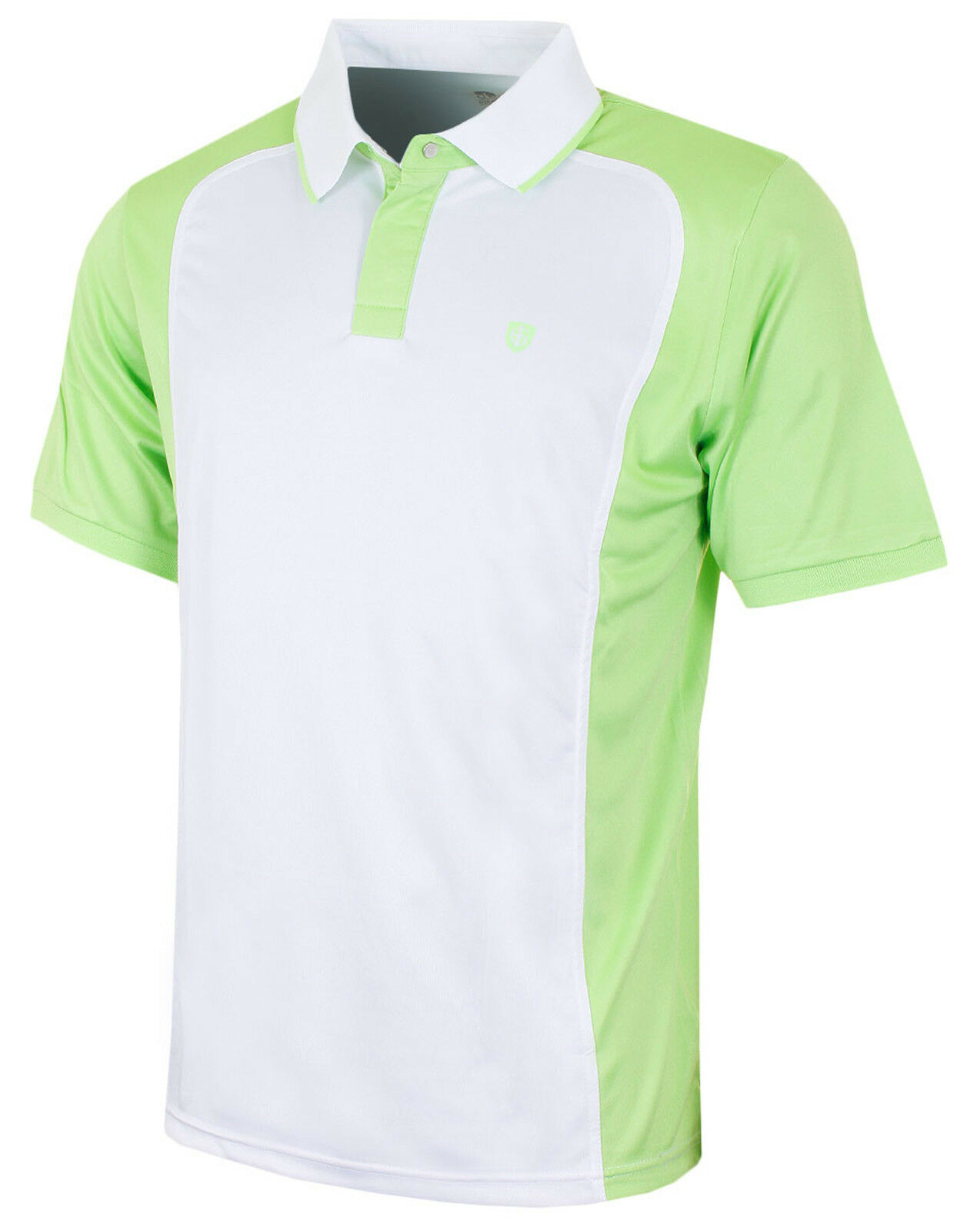 Island Green Mens Golf Polo Shirts Two Tone Short Sleeve Two Button