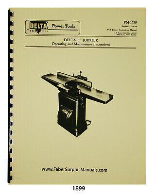 Delta 8 Jointer Older Style Instruction Parts List Manual See Descript. 1899