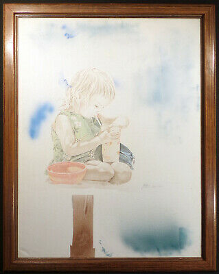 David Peter Ramos Untitled Original Drawing & Painting on Canvas little girl OBO