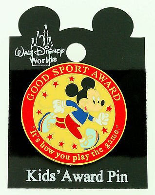 DISNEY MICKEY MOUSE GOOD SPORT AWARD TAC PIN ~ It's how you play the game